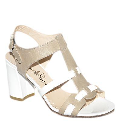 #Sandalo con il tacco medio in vernice bianca e pelle beige di #EmanuelaPasseri  http://www.tentazioneshop.it/cerca?controller=searchorderby=positionorderway=descsearch_query=4032submit_search=OK