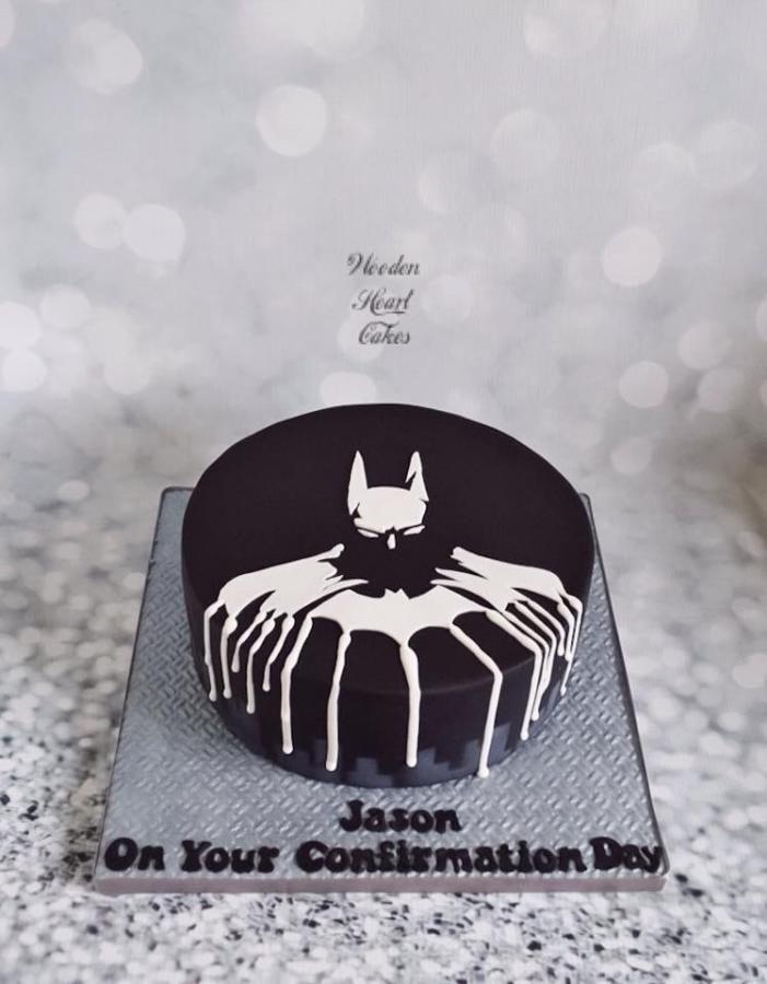 Batman drip cake by Wooden Heart Cakes