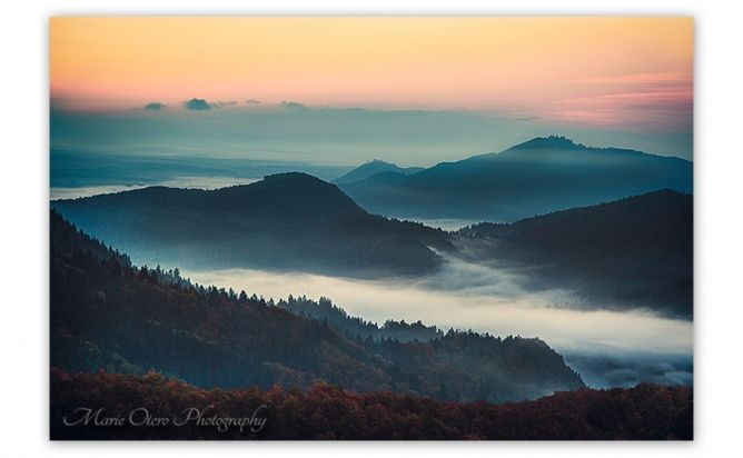 hillsides and fog in N Carolina