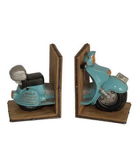 Bookend with a scooter inspired design  Product Set of 2 bookendsConstruction Material ResinColor Blue and brownFeatures Scooter 2128 best Book stuff images on Pinterest Bookends Bookshelves