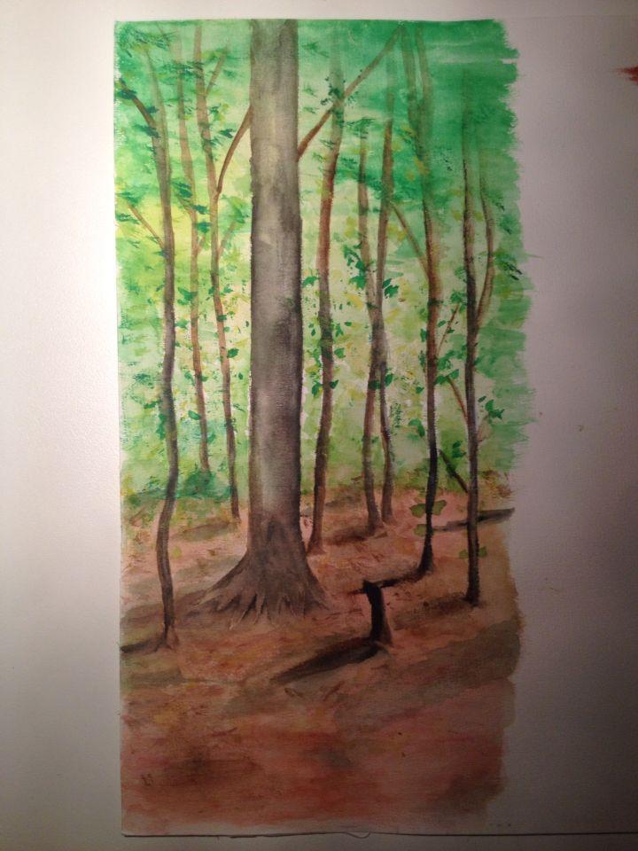Akvarell av bokskog