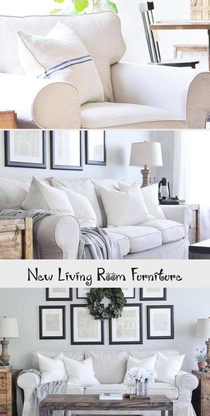 Beautiful slipcovered farmhouse style sofa and armchairs