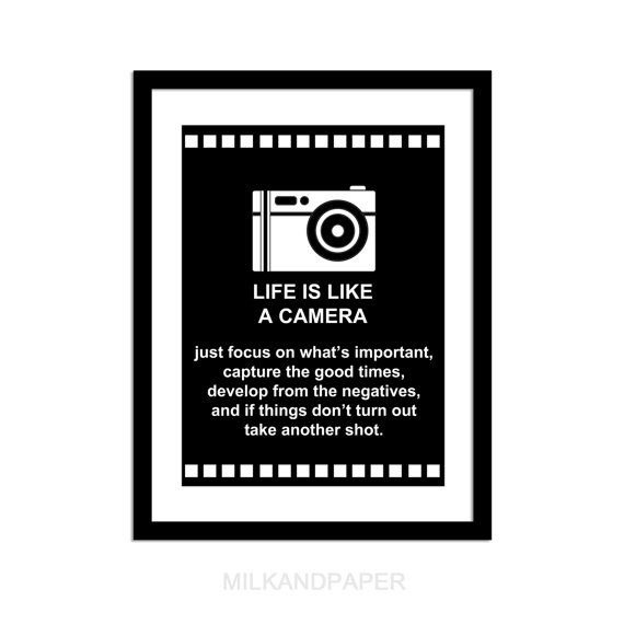 Life is Like A Camera Print 8x10 inches by MILKANDPAPER on Etsy