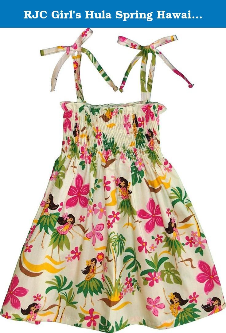 """RJC Girl's Hula Spring Hawaiian Smocked Dress Beige 14. SIZING INFO RJC 