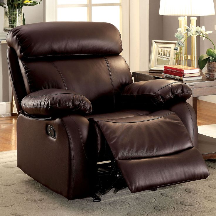 Furniture of America Gausten Transitional Brown Leather Glider Recliner (Brown), Size Oversized