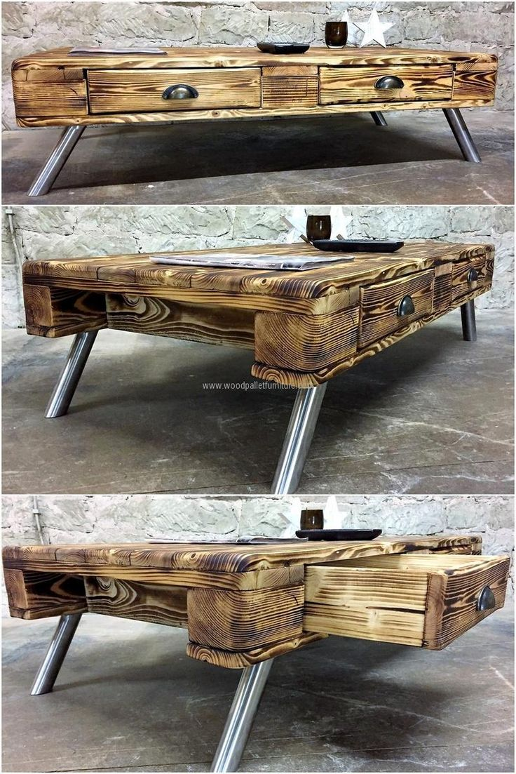Now come to fulfilling the requirement of the table in any area of the home, here is a good idea for creating a rustic pallet table with unique look. The legs of the table are ready-made and the look of the table will make the area appealing.