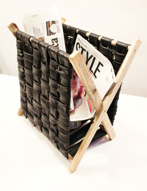 Bicycle inner tube magazine rack.