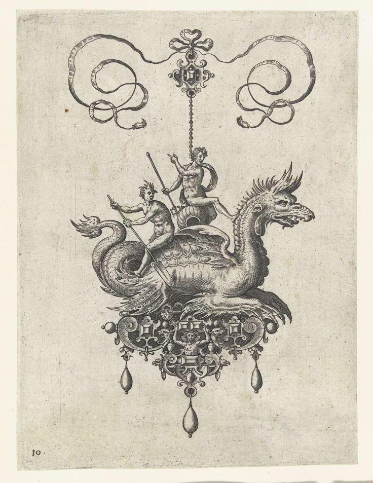 Hanger met zeedraak, Adriaen Collaert, Hans Collaert (I), Philips Galle, 1582