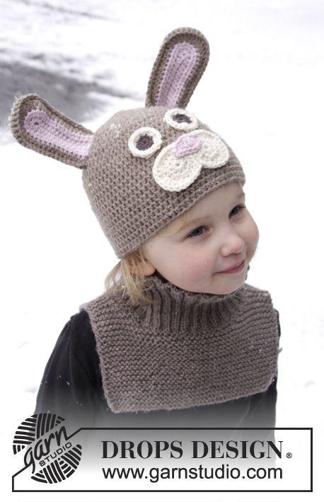 """Honey Bunny / DROPS Extra 0-1022 - DROPS Påske: Hæklet påskehare-hue og strikket løs-hals i """"Lima"""""""