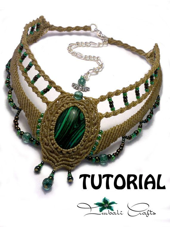 TUTORIAL - Olive green baroque necklace - Malachite baroque choker - natural…