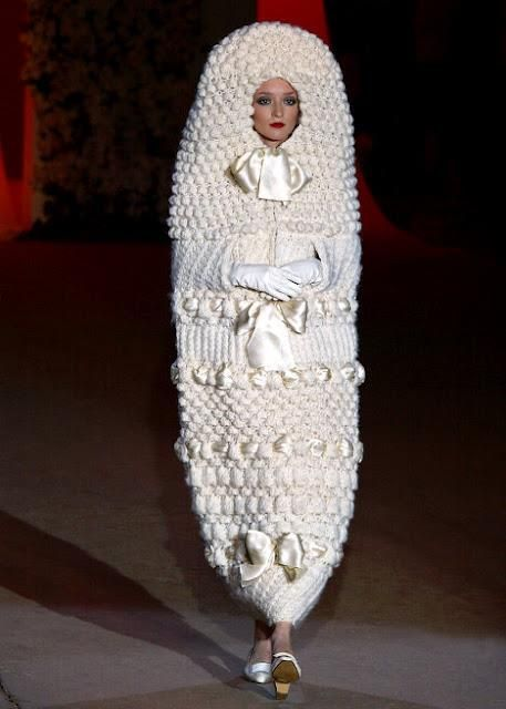 1965 knitted cocoon wedding dress inspired by Russian nesting dolls