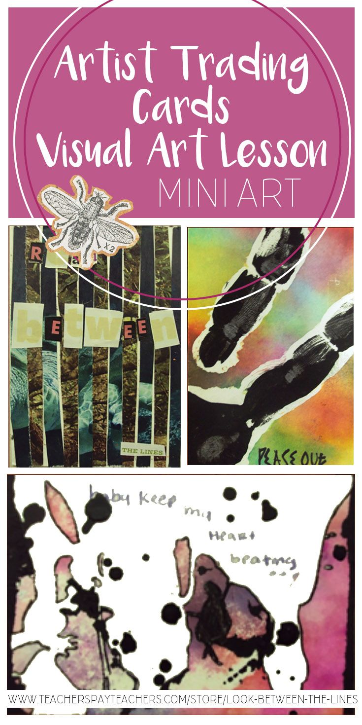 """Artist trading cards are mini works of art on cards no larger than 2.5""""x3.5."""" They give visual art students a chance to experiment with materials, make multiple works of art in a short period of time, and participate in a card trading session with their peers."""