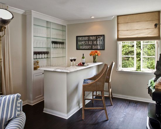 Transitional Home Bar By Jeneration Interiors Works For: Wine Buffs  Creating A Corner Bar Is A Great Option For Wine Connoisseurs. A  Glass Fronted Shelving ...