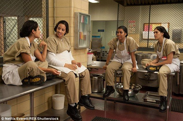 Hype around Season Four has been huge after Season Three ended with a prison break and the imminent arrival of new inmates (Pictured: Maritza Ramos, played by Diane Guerrero, Dayanara Diaz played by Dascha Polanco, Maria Ruiz, played by Jessica Pimentel and Blanca Flores played by Laura Gomez)