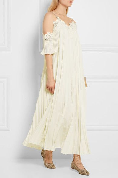 Ivory chiffon and guipure lace Slips on 100% polyester Hand wash  Imported