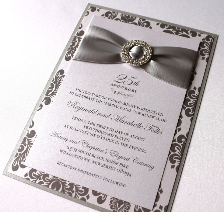 silver wedding anniversary invitations%0A Embellished Paperie    th Anniversary Invitations  Silver and White Damask