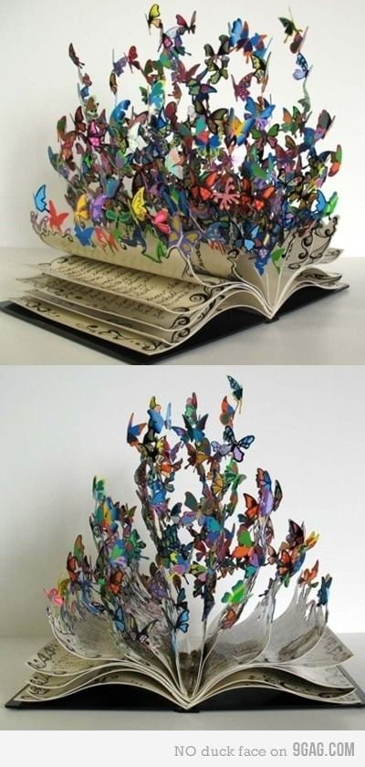 This is amazing! Butterflies coming out of the pages of a book artwork.