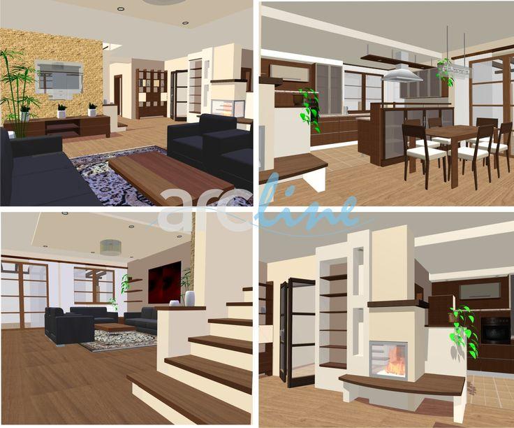 Interiér RD - návrh, vizualizácia. Design by Monika Jakubcová, www.arcline.sk