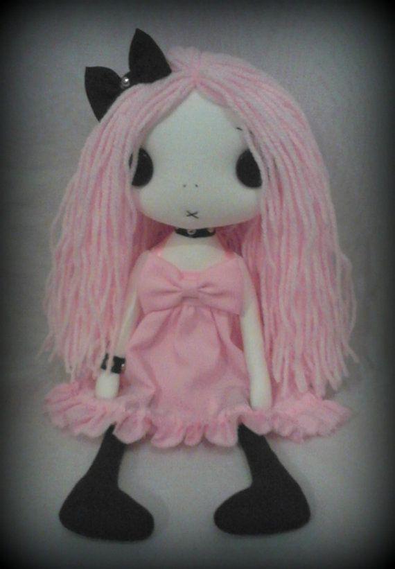 Gothic Rag Doll  Abigail the pastel goth by ChamberOfDolls on Etsy, £27.50