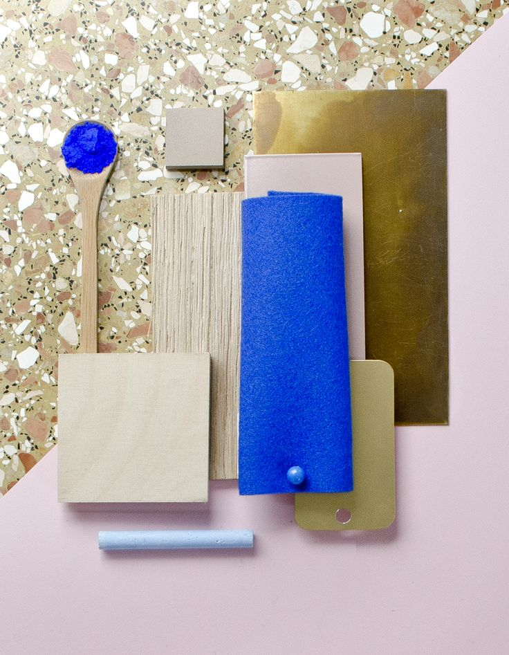 Weekly material mood 〰 Klein blue, Pastel pink and Chunky terrazzo. #klein #kleinblue #terrazzo #chunky #pink #brass #wood #plywood #birch #felt #wool #interior #architecture #design #material #mood #studiodavidthulstrup