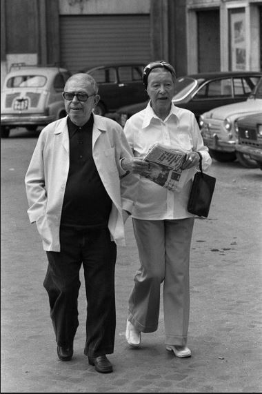 Simone de Beauvoir and Jean-Paul Sartre in Rome, Italy. September 1978. Photo: by Francois Lochon.