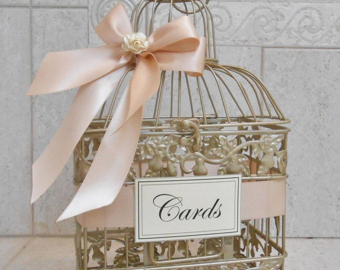 Small Champagne Gold and Blush Wedding Card Box / Wedding Card Holder / Birdcage Card Holder / Wedding Decor / Small Card Holder / Birdcage