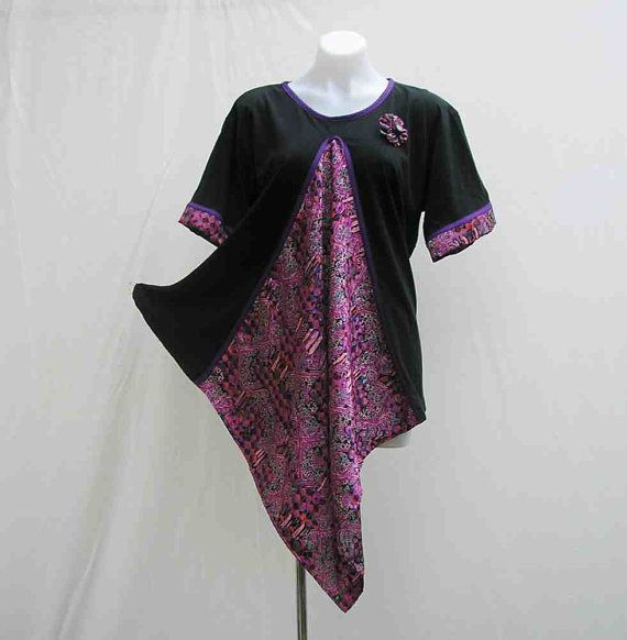 Upcycled T-shirt, black pink purple, large, AU 16 UK 14 US 12, refashioned, asymmetrical, brooch