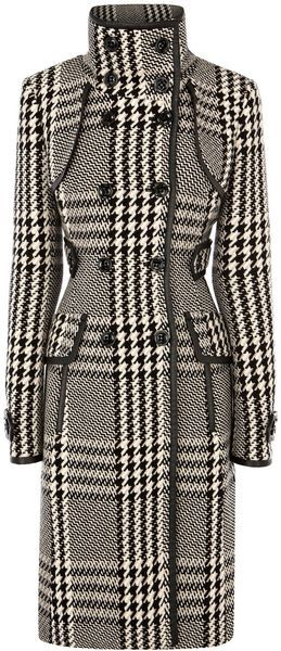Karen Millen Statement Check Coat in Black