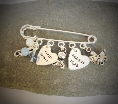 Pin Keepsake - Would be a great present for a new baby, christening or as a good luck charm for a bride to wear under her dress!
