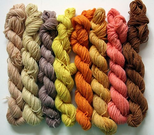 Thorough and interesting blog entry about dyeing using natural dyes -- I think I like the black tea skein (far left) the best!