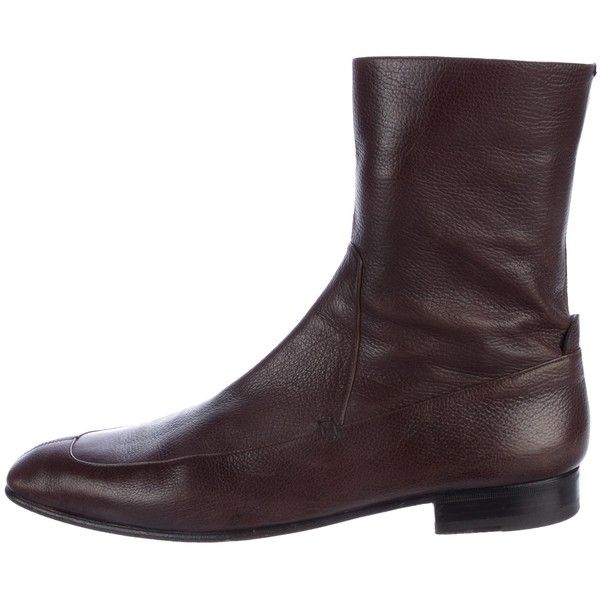 Pre-owned Yves Saint Laurent Leather Ankle Boots ($325) ❤ liked on Polyvore featuring men's fashion, men's shoes, men's boots, brown, mens zip ankle boots, mens zip boots, mens leather zipper boots, mens brown leather shoes and mens leather boots