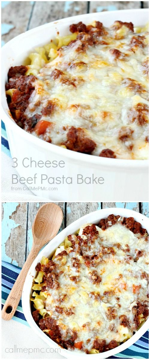 Three Cheese Beef Pasta Bake -Layers of hearty pasta, gooey cheese and tomato meat sauce is baked until golden brown in this