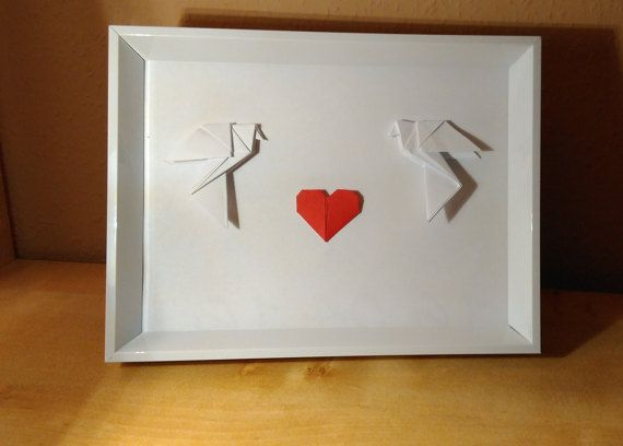 Origami wall art Framed origami wedding frame by Handmadegiftbox