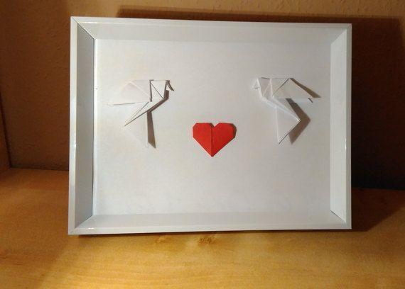 Origami wall art Framed origami wedding frame by Handmadegiftbox