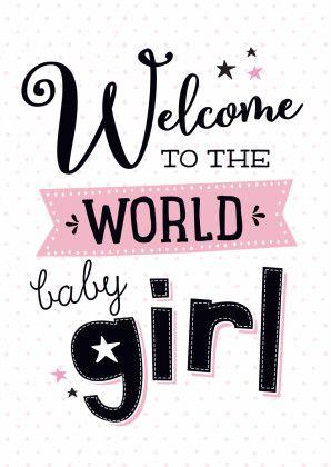Trendy felicitatiekaart voor de geboorte van een dochtertje, verkrijgbaar bij #kaartje2go voor €1,89