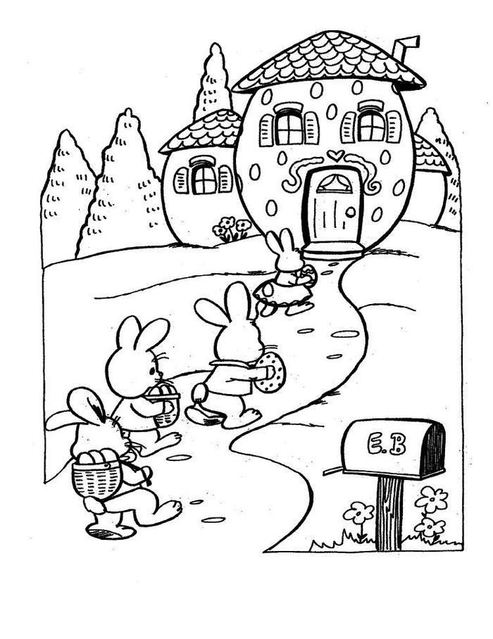 Easter House Coloring Pages Easter Coloring Pages Easter Bunny