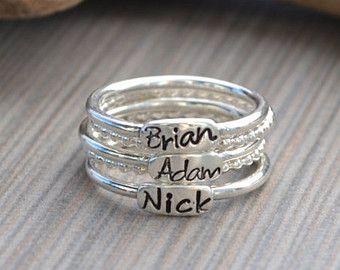Personalizada.925 anillos apilables