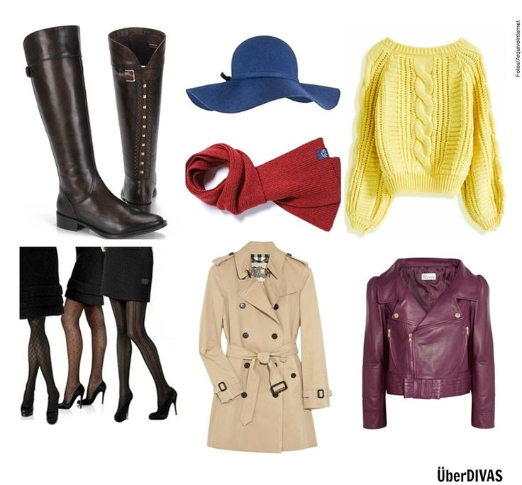 Peças de Inverno Indispensáveis!  O inverno está chegando! E nada melhor que investir em peças que vão nos deixar bem aquecidas e estilosas: Botas, Suéter de Tricô, Cachecol, Chapéu de feltro, Jaqueta de couro, Meia-calça e o clássico Trench coat. Que tal?   #Botas #chapéu #Sombrero #hat #TrenchCoat #Sueter #Sweater #JaquetaCouro #ChaquetaCuero #LeatherJacket #MeiaCalça #Cachecol