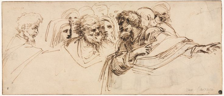 Agostino Carracci (Italian, 1557-1602), pen and brown ink; framing lines in brown ink, Sheet: 13.10 x 30.90 cm (5 1/8 x 12 1/8 inches). Gift of Robert Hays Gries 1941.605
