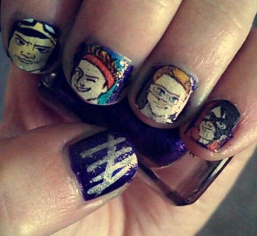 "Attempt at a 5SOS nails based on their latest single ""Don't Stop"""