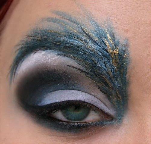 Feather eye-shadow.