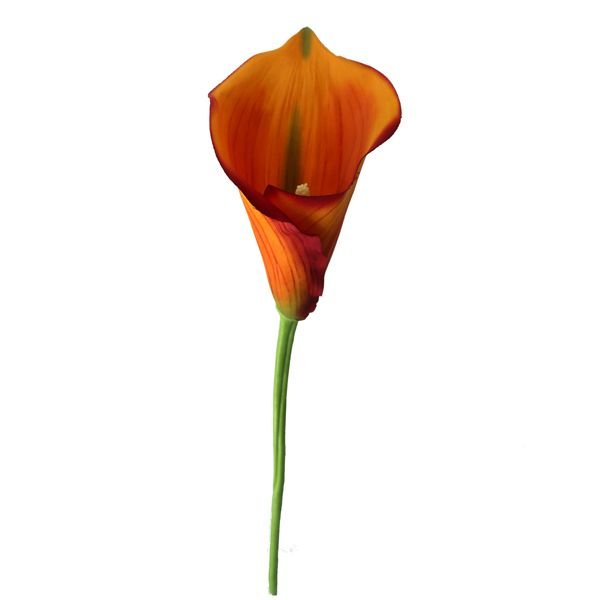 Fleur artificielle Lys calla orange 26
