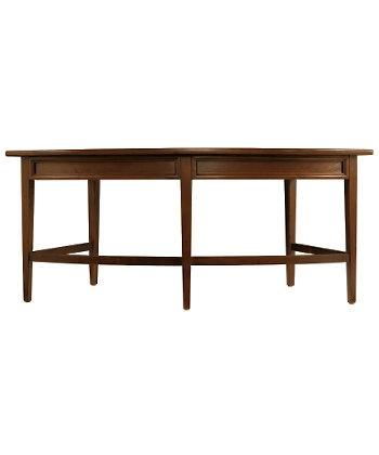 curved wooden desk