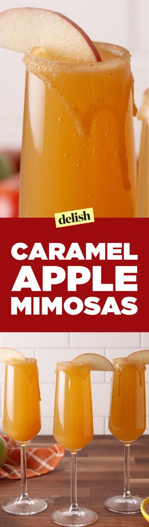 Caramel Apple MimosasINGREDIENTS   2 tbsp. Caramel   2 tbsp. cinnamon sugar   1 c. apple cider   8 oz. caramel vodka   1 bottle champagne   Apple slices, for garnishDirections  1. In a small dish, pour caramel sauce. In another small dish, pour cinnamon sugar. Dip champagne flutes into caramel to rim glass, then dip in cinnamon sugar.  2. Pour apple cider, caramel vodka, and top with champagne into flutes.  3. Garnish with an apple slice and serve.
