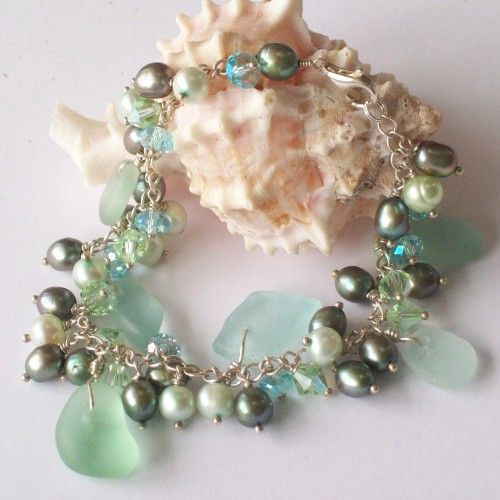 Seafoam Green Sea Glass Bracelet with Fresh Water Pearls and Crystals $58.00