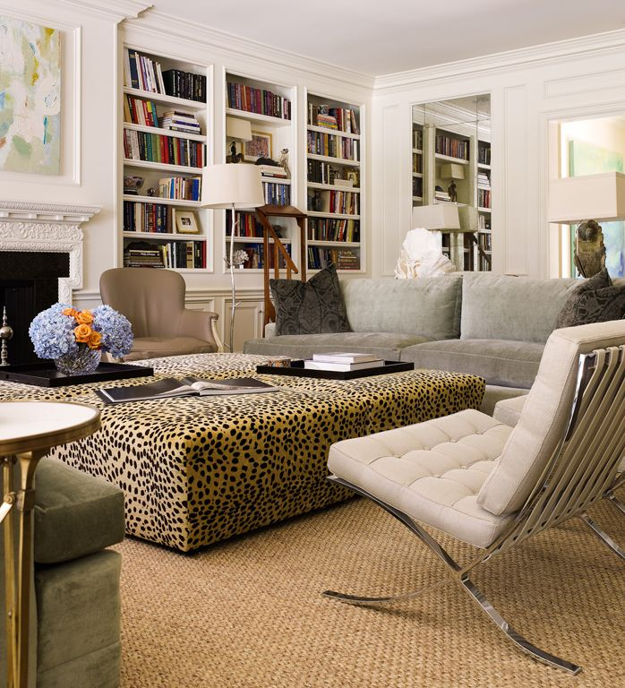 Large leopard ottoman! Barcelona chairs.