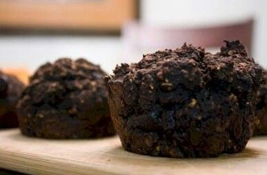 Great Way To Sneak In Some Morning Oats! Makes 6 muffins Ingredients: 3/ 4 cup oat flour (grind up rolled oats in food processor until it reaches a flour-like consistency) 1/ 3 cup carob flour or u...
