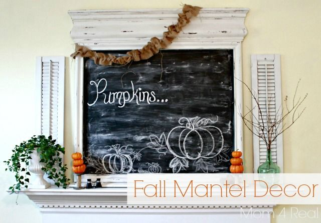 Fall Mantel Decor - Mom 4 Real #fall #decorating