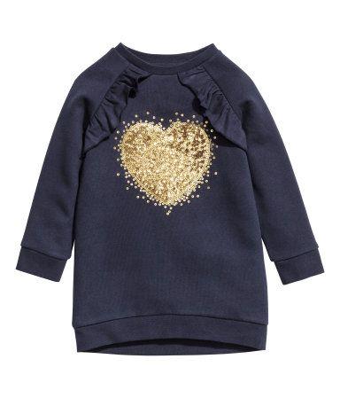 Sweatshirt mit Motiv | Dunkelblau/Volants | KINDER | H&M DE