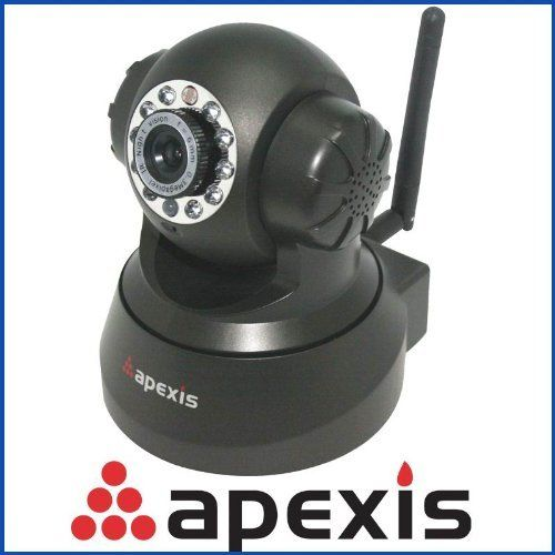 Apexis Wifi Ip Cam Wireless Security Ip Camera Color Black by Apexis. $54.99. New Feature: > 15 preset positions monitoring > Free DDNS for Remote viewing > Freely control alarm sound ON/OFF > Freely control alarm record ON/OFF > Up to 11 languages for worldwide users  Basic Feature: >MJPEG video compression format > Built-in Microphone and Speaker > Support two-way audio function > Freely control upload image to FTP > Freely control Pan/Tilt angle by software > Freely control ne...